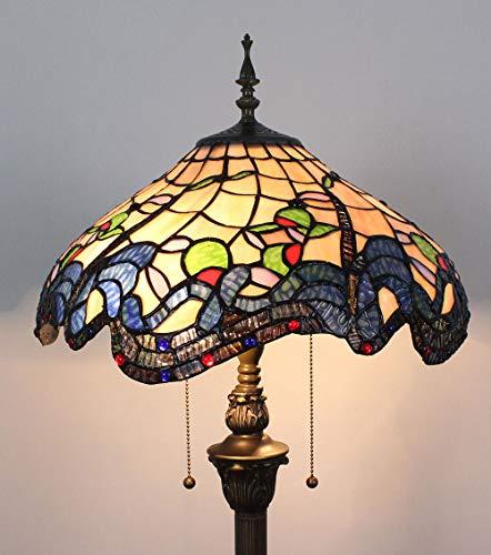HDO 16 inch zwarte riem bloemen bladeren bead gekleurd glas creatieve woonkamer slaapkamer nachtkastje klassieke luxe sfeervolle vloerlamp