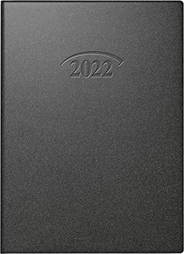 BRUNNEN 1073610902 Taschenkalender Modell 736 Artistico, 1 Seite = 1 Tag, 10 x 14 cm, Kunststoff-Einband schwarz, Kalendarium 2022