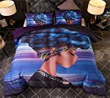 NTBED African American Black Girl Comforter Set Full/Queen Purple Exotic Style Cool Woman Microfiber Bedding Quilted Sets for Ladies Girls