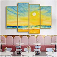 キャンバス絵画サンセットアート壁写真ポップマーブルアートプリント用リビングルーム寝室現代壁家の装飾30x60cmx2 30x80cmx2(縁なし)