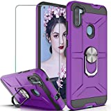 Galaxy A11 Case Galaxy A11 Phone Case with HD Screen Protector YmhxcY 360 Degree Rotating Ring Kickstand Holder Dual Layers of Shockproof Phone Case for Samsung Galaxy A11 6.4'-ZS Purple