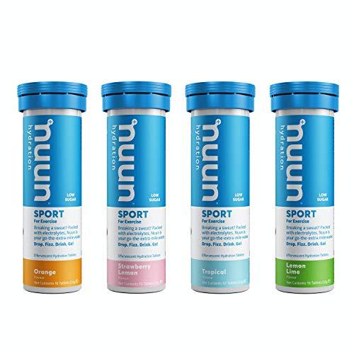 Nuun Sport Hydration Drink Tablets : 4 Tube Pack : Fruity Mix : Lemon & Lime, Orange, Tropical Fruit, Strawberry Lemonade