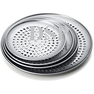 "Customer reviews Pizza Pan 11"" inch Perforated Thin Crust Aluminum Pizza Pan, Crispy Tray, Commercial & Home Kitchen Used"