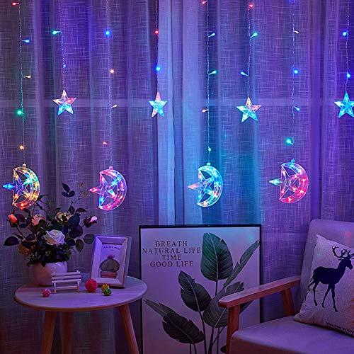 AQUYY LED Gordijn Licht, Sterrenfee Licht 2.5M* 1M, 8 Verlichtingsmodi, Geschikt voor Kerstmis, Bruiloft, Feest, Slaapkamer Raam Decoratie Lichten (veelkleurig)