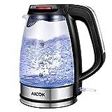 AICOK Hervidor de agua eléctrico de vidrio hervidor rápido, 1,7 L, hervidor de...