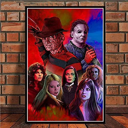YYAYA.DS Cuadros Decorativos Noche de Terror de Halloween Jason Voorhees Freddy Krueger póster de película Impresiones Pintura artística Cuadros de Pared decoración del hogar 60x90cm