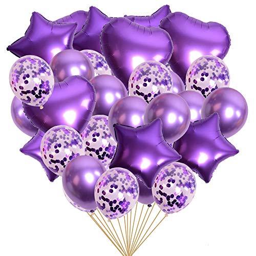 Vicor 40 Pezzi Palloncini Viola,Palloncini Matrimonio,Palloncini Battesimo Bambino,Balloon with Confetti per la Decorazione del Festival