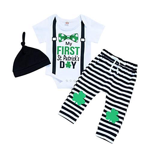 Baby Boy My 1st St. Patrick's Day Outfit infantil menino gravata borboleta + calça com estampa da sorte, conjunto de 3 peças, Preto, 6-9 meses