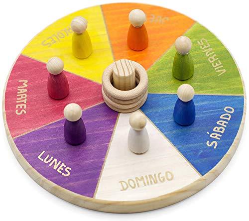Calendario Waldorf Montessori Semanal INGLÉS, Juego Educativo niños + 3 años