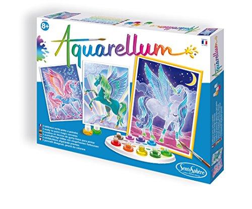Sentosphère 3906320 Aquarellum Malset für Kinder, Motiv Pegasus, große Malvorlagen, Bastelset, Kreativ-Set, DIY