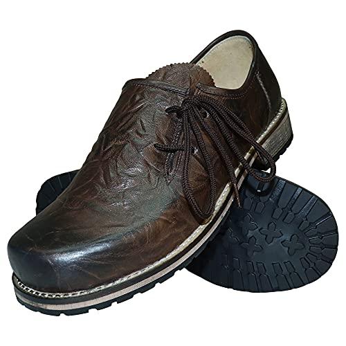 Trachtenschuhe Haferlschuhe Trachten-Schuhe Glattleder braun Antik-Leder glatt speckig Schnürschuhe Lederschuhe Halbschuhe Herrenschuhe zur Lederhose oder Anzug Schuhe für Herren, Größe:42