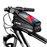 WILD MAN Bike Bicycle Bag, Waterproof Bike Phone Mount Bag Front Frame Top Tube Handlebar Bag with Touch Screen Holder Case for iPhone X XS Max XR 8 7 Plus, for Android/iPhone Cellphones Under 6.5""
