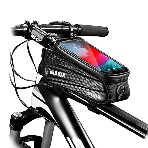 """WILD MAN Bike Bicycle Bag, Waterproof Bike Phone Mount Bag Front Frame Top Tube Handlebar Bag with Touch Screen Holder Case for Android iPhone Cellphones 6.5"""", Bike Accessories for Adult Bikes"""