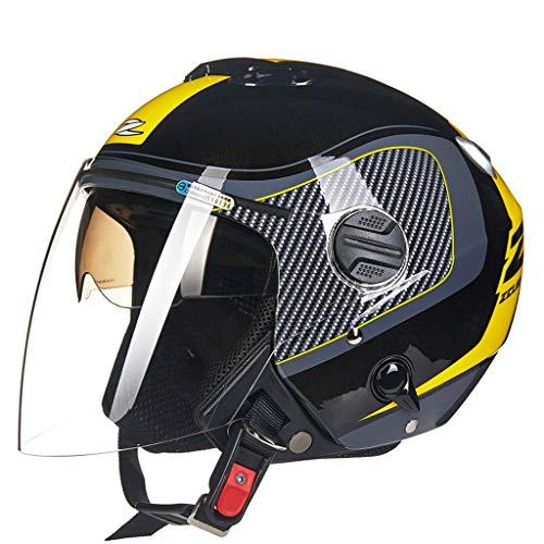 Casque moto moto double lentille fashion casque de moto (Couleur : A-M(54-56cm))