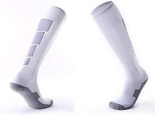 healthwen 1 par de Calcetines Deportivos de fútbol Antideslizantes para Hombres, Calcetines de fútbol por Encima de la Rod...