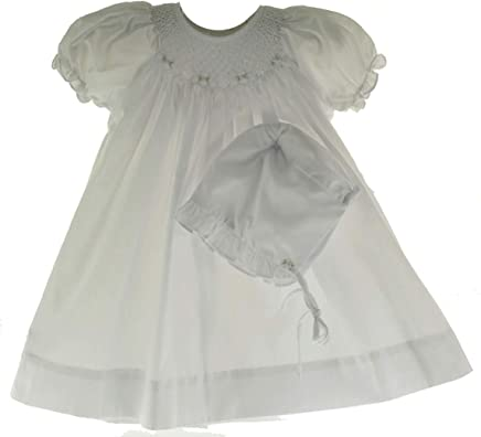 245ec738a361 Girls White Smocked Dress with Bonnet Set Bishop Daygown