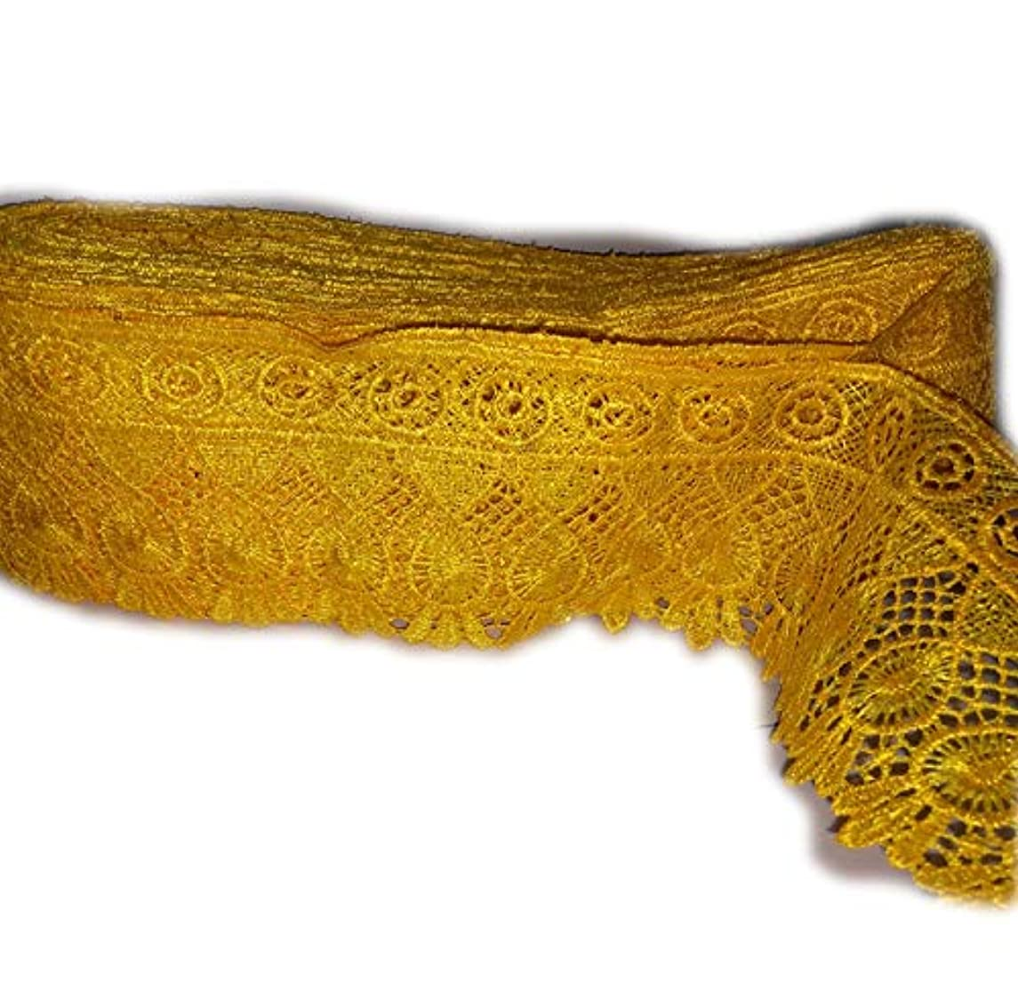 Yuktha Eternals 3 Inch Yellow Lace Ribbon Floral Lace Trim for Decoration, Wedding Cards, Invitation, Hair, Bow, Gift Wrapping - 17.5 Yards x 3