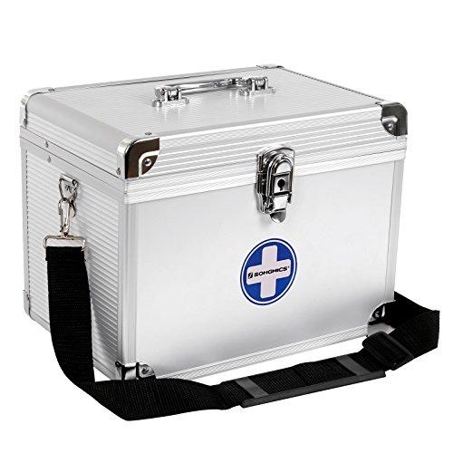 SONGMICS Erste Hilfe Koffer Medizin-Box Aufbewahrungsbox Medikamentenbox Arzneimittel-Box Medizinbehälter mit Tragegriff Tragegurt Aluleisten ABS silbrig JBC361S