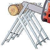 BMOT Sägebock Metall verzinkt 150kg Belastbarkeit 80x81x80cm Holzschneidebock Sägehilfe Holzsägebock Sägegestell Säge Kettensägebock für verschiedene Stammstärken