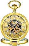KONGWU Reloj de Bolsillo Romano Plata Clamshell Mecanical Pocket Watch Clásico Tallado Hueco Relojes mecánicos-2 Amazing