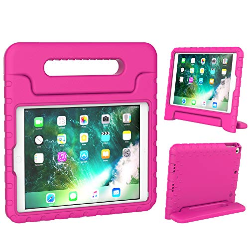 Surom Case for New iPad 9.7 Inch 2018/2017 - ShockProof Case Light Weight Kids Case Cover with Handle Stand Case for iPad 9.7 Inch 2018 & 2017 Release/iPad Air/iPad Air 2 Tablet, Rose Pink