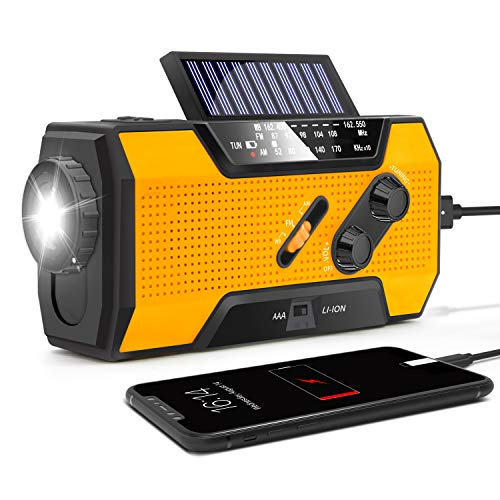 RunningSnail Solar Crank NOAA Weather Radio for Emergency with AM/FM, Flashlight, Reading Lamp and 2000mAh Power Bank(Orange)