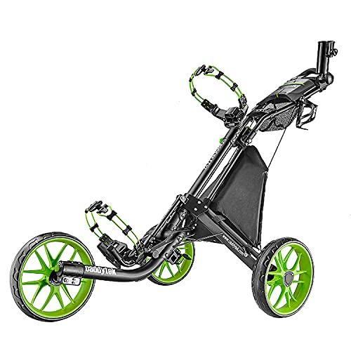 Chariot de golf EZ-Fold de CaddyTek - 3roues - Gris foncé - Avec sac de rangement, citron vert