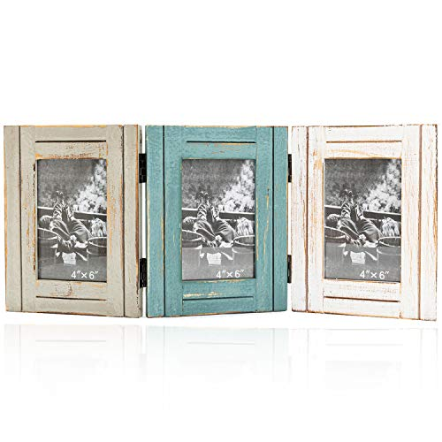 Rustic Trifold Picture Frame 3 Folding 4x6 Hinged Triple Photo Frame with High Definition Glass for Home Office Desk