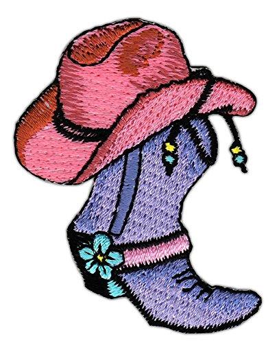 Cowboy Hut Stiefel Aufnäher Bügelbild Größe 6,0 x 4,7 cm