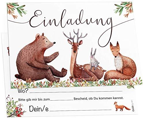 12 Tiere Wald Freunde Einladungskarten inkl. Umschläge perfekte Einladung zum Kindergeburtstag oder Kinder Party   Geburtstag-Einladungen zum ausfüllen (Wald Freunde)