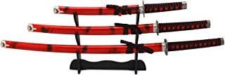 Master Cutlery 3 Piece Marble Red Katana Sword Set