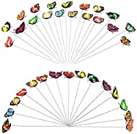 LTCTL 10Pcs植物の装飾、屋外の庭、庭の装飾のための棒のカラフルな庭の蝶トンボのパティオの装飾品(サイズ:10個)