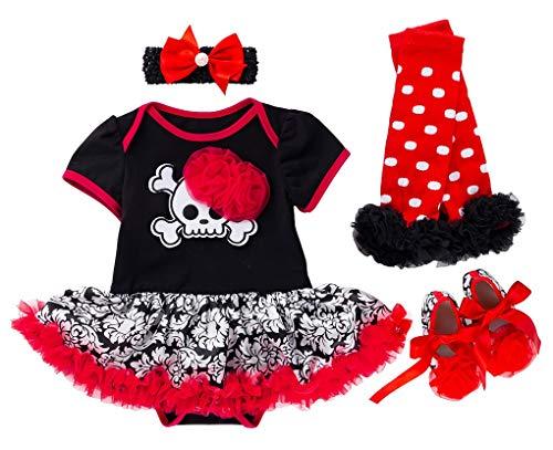 FANCYINN bebé niñas mi Primer Traje de Halloween Calabaza de Manga Corta Mamelucos Falda tutú + Diadema + Calentador de piernas + Zapatos 4 Piezas