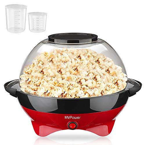 MVPower Popcorn Maker, 800W Popcorn Maker, Superficie de Calentamiento Extraíble Recubrimiento Antiadherente, Tapa Grande, con 2 Tazas de Medición (100 ml, 30 ml), sin BPA, 5 Litros