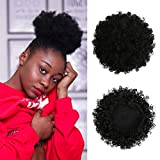 VRbeatter Afro Puff Drawstring Ponytail Synthetic Short Curly Hair Ponytail Extension Black Brown Afro Bun Clip On Hair Extesions For Black Women(Black)