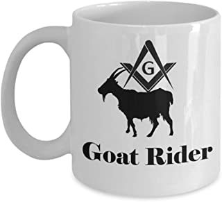 Masonic coffee mug - Goat rider - unique Freemasonry Lodge perfect gift accessories - Funny Freemason gag joke symbol gifts - Brotherhood PHA Prince Hall 11oz ceramic tea cup