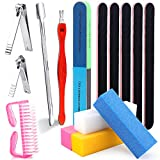 15 PCS Nail Manicure Tool Set with 2 Nail Clippers 2 Cuticle Pusher,5 Nail Files(100/180 Grit),4 Nail Sanding Buffer Blocks,1 Large Brushes,1 Polishing Block for Toes and Nails Clean