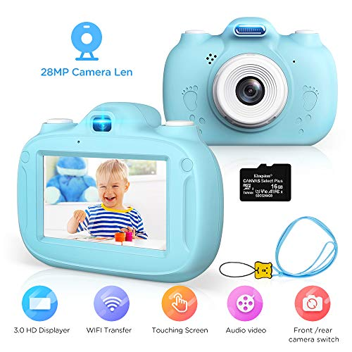 Kinderkamera, 28MP HD Video-Digitalkamera für Kinder, 3,0 Zoll IPS HD 1080P Touchscreen & Unterstützt WiFi/Kleine Spiele, Geburtstagsgeschenk für Junge Mädchen im Alter von 3-12 (Blau)