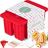 Popsicle Molds Silicone BPA Free – Reusable Popsicle Maker Set For Kids - Dishwasher Safe Tray and Easy Ice Pop Release – Make Homemade Ice Cream Popsicles - Moldes Para Paletas de Helado - By Chammy