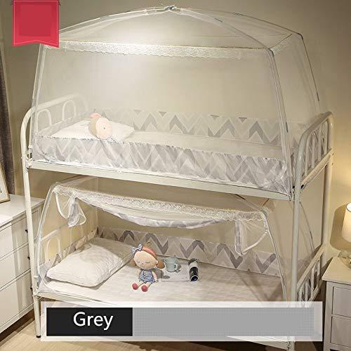NO LOGO KF-Net - Mosquitera de 0,9 m para Dormitorio de Estudiantes, litera, Cama pequeña para niños, mosquitera de yurta de Mongolia con decoración de Encaje, Gris, 90x195x95cm