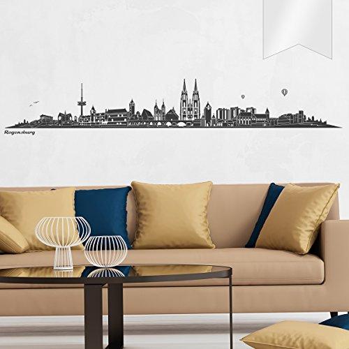 WANDKINGS Wandtattoo Skyline Regensburg 140 x 23 cm - Milchglasfolie - 35 Farben zur Wahl