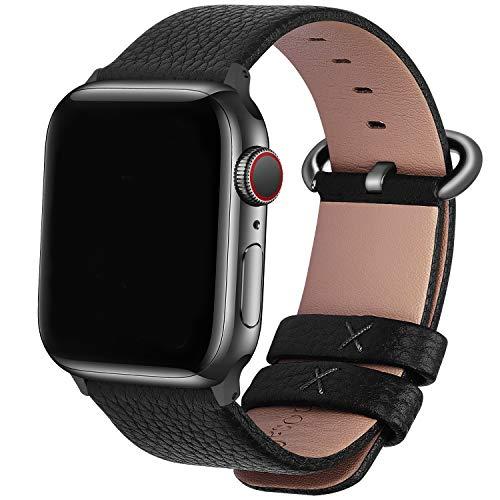 Fullmosa Correa Compatible Apple Watch 44mm 42mm 40mm 38mm, YAN 15 Colores Correa Cuero Pulsera para iWatch Series 6 5 4 3 2 1, Series SE, Negro + Hebilla de Ahumado + Adaptador Ahumado 42mm 44mm
