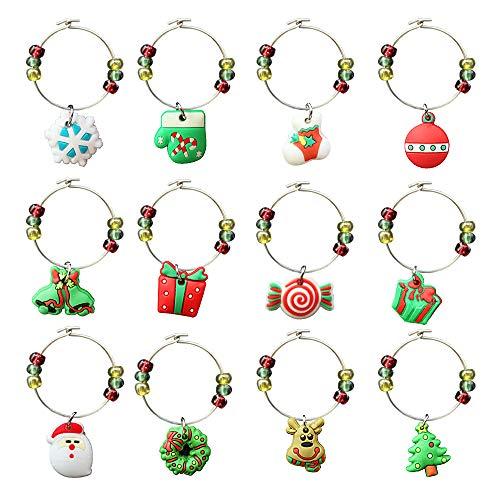 12 Stück Weinglas Charms, CNYMANY PVC Weihnachten unter dem Motto Becher Drink Marker Tags mit Schnalle Design für Weihnachten Wein Cocktail Champagner Tasting Party Favors Supplies Geschenke