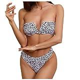 Bikini de Ropa de Playa Dividida con Estampado Floral Y Espalda Abierta Sexy de Moda para Mujer(Blanco,M)
