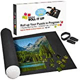 """Large Puzzle Mat Roll Up Set - Store and Transport Jigsaw Puzzles Up to 1500 Pieces - 46"""" x 26"""", Complete Set Includes Felt Mat, Inflatable Tube, and 3 Elastic Fasteners New Improved Design"""