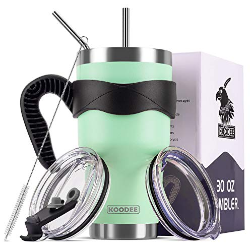 Koodee 30 oz Tumbler Stainless Steel Vacuum Insulated Coffee Travel Mug with 2 Lids, 2 Straws, Brush,Handle (30 oz Opal Green)