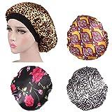 Zuzer Gorros de Ducha,4pcs Gorro de Baño Reutilizables Shower Cap Shower Hat para Dama Mujer Ducha SPA Salon