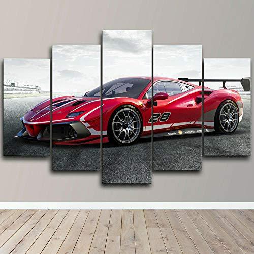 AWER Tejido no Tejido Impresión 488 EVO Racing Car Canvas Wall Art,Decoracion de Pared,5 Piezas Lienzos Cuadros Pinturas,Cuadro sobre Lienzo,Listo para Colgar,en un Marco