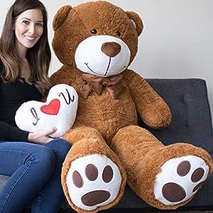 Yesbears Giant Teddy Bear 5 Foot Brown Microfiber Bowtie & Face (Pillow Included)