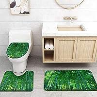 ZGDPBYF 浴室用アップホームバスマットグリーンバンブーフォレストネイチャーランドスケーププリントバスマットシャワーフロア用カーペットバスタブマット